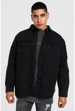 Washed black Oversized Rigid Western Denim Shirt