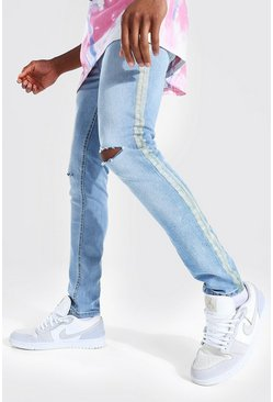 Antique blue Skinny Stretch Multi Rip Jean Side Stripe