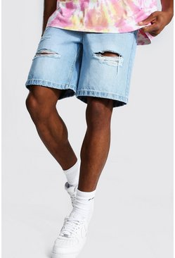 Ice blue Loose Fit All Over Distressed Jean Short