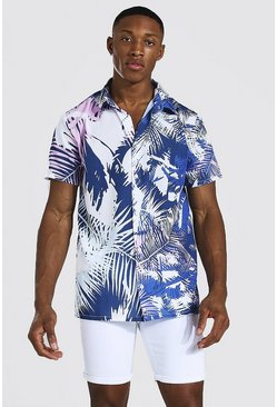 White Short Sleeve Palm Print Shirt
