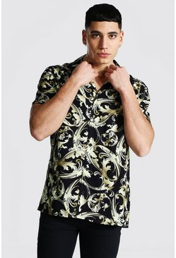 Short Sleeve Baroque Viscose  Shirt, Black negro