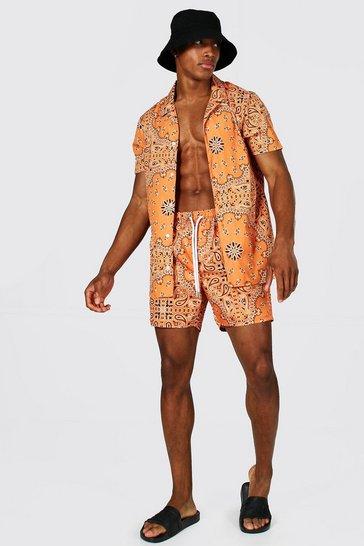 Orange Short Sleeve Revere Bandana Shirt And Swim
