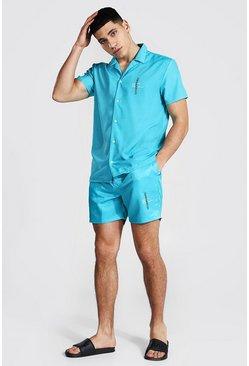 Aqua blue Official Short Sleeve Revere Shirt And Swim