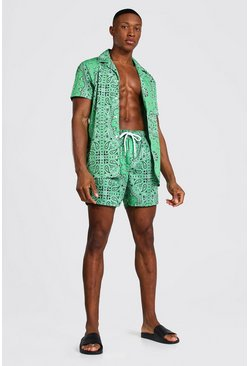Green Short Sleeve Revere Bandana Shirt And Swim