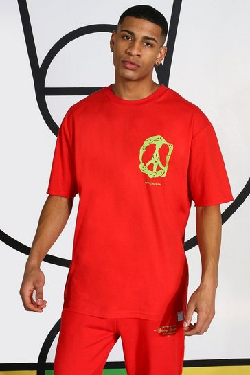 Red Neon Peace Sign T-shirt