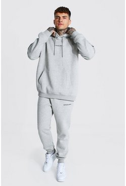 Grey marl grey Oversized Official Man Hooded Tracksuit