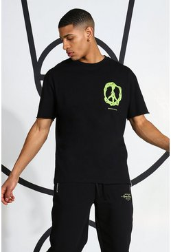 Black svart T-shirt med peacetecken