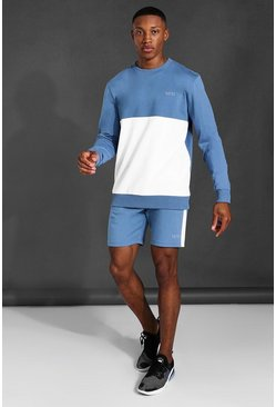 Sweat color block et short - MAN Active, Dusty blue bleu