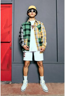 Green Offcl Spliced Check Overshirt