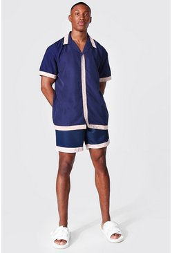 Navy Oversized Revere Tape Shirt And Swim