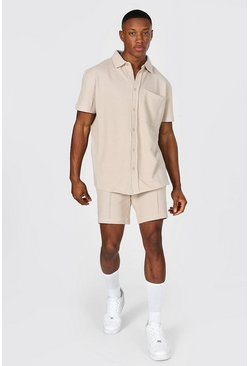 Stone Pique Short Sleeve Revere Shirt And Short
