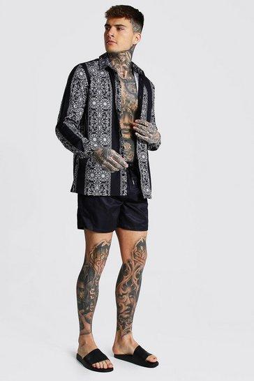 Black Long Sleeve Aztec Shirt And Swim