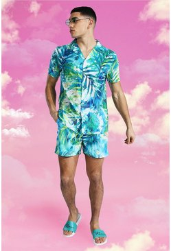 Blue Short Sleeve Revere Palm Print Shirt And Swim