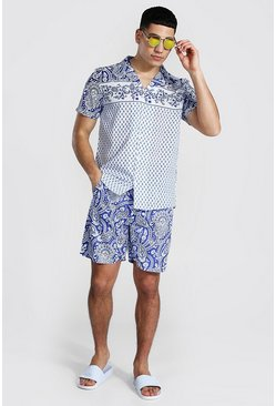 Blue Short Sleeve Revere Paisley Shirt And Swim