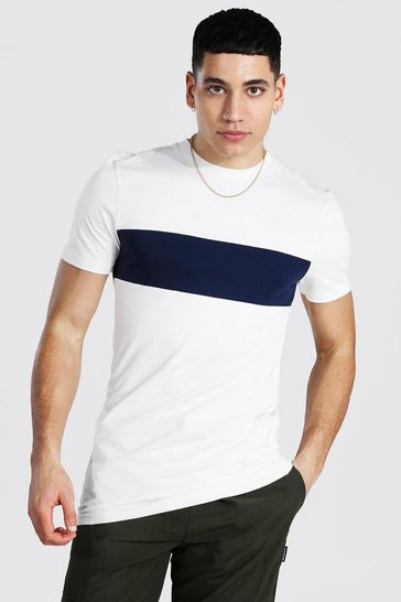 Ecru white Muscle Fit Longline Colour Block T-shirt