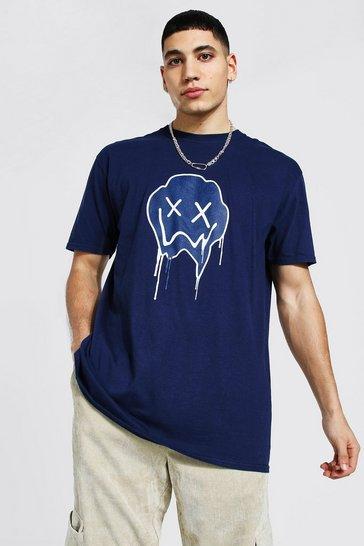 Navy Oversized Tonal Drip Face Print T-shirt