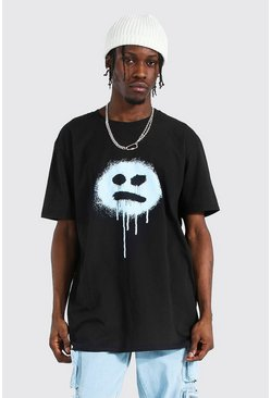 Black Oversized Drip Face Print T-shirt