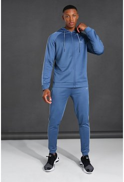 Dusty blue blue Man Active Piping Detail Zip Through Hoodie T