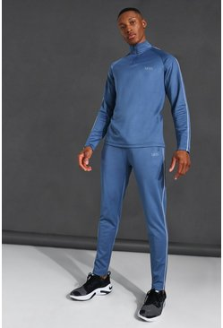 Dusty blue blue Man Active Piping Detail Funnel NeckTracksuit
