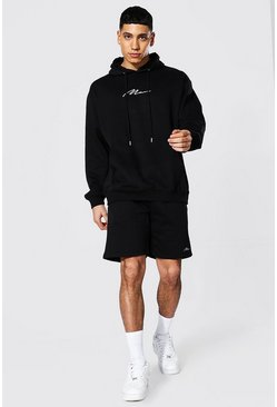 Black Oversized Man Signature Short Hood Tracksuit