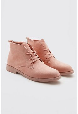 Pink Faux Suede Desert Boots