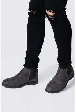 Grey Faux Suede Chelsea Boots