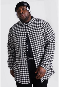 Black Plus Size Dogtooth Check Overshirt