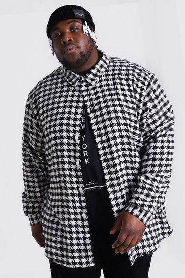 Black Plus Size Dogtooth Check Overshirt
