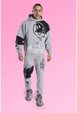 Grey marl grey Tall Oversized Graffiti Patchwork Tracksuit