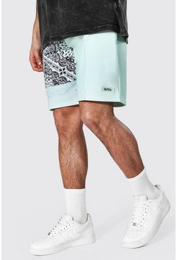 Sage green Regular Man Bandana Spliced Jersey Shorts