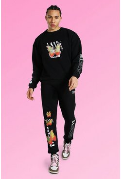 Black Tall Oversized Butterfly Sweater Tracksuit