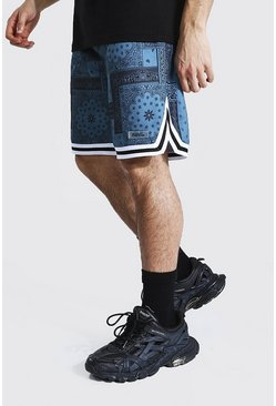 Sage green Loose Bandana Basketball Jersey Shorts