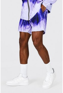 Lilac purple Mid Length Tie Dye Shell Shorts