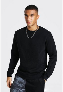 Black Slim Fit Crew Neck Sweatshirt