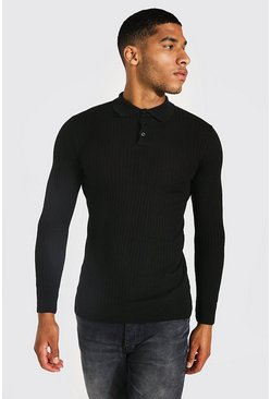 Black Tall Long Sleeve Muscle Fit Ribbed Polo