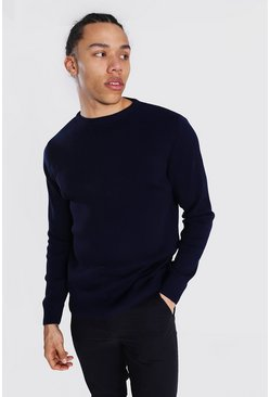 Navy Tall Basic Crew Neck Jumper