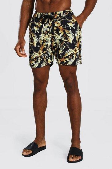 Black Mid Length Baroque Print Swim Short