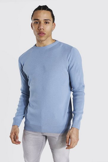 Dusty blue blue Tall Basic Crew Neck Jumper