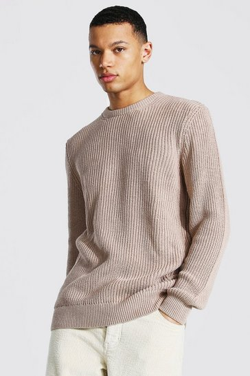 Taupe beige Tall Crew Neck Fisherman Rib Jumper