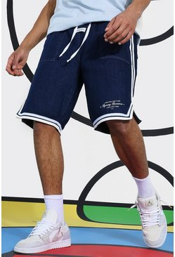 Indigo blue Denim Basketball Short With Side Tape