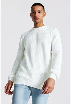 Cream white Tall Crew Neck Fisherman Rib Jumper