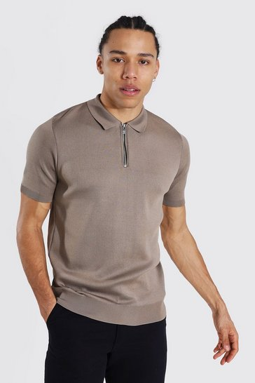 Camel beige Tall Short Sleeve Half Zip Knitted Polo