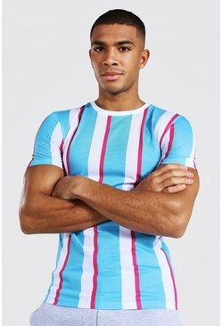 Light blue blue Muscle Fit Vertical Stripe T-shirt