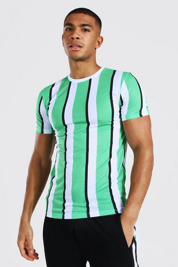 Light green green Muscle Fit Vertical Stripe T-shirt