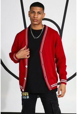 Red Varsity Cardigan With Back Embroidery