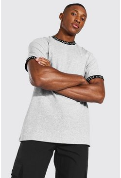 Grey marl Original Man Contrast Ringer Neck T-shirt
