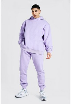Lilac purple Oversized Man Embroidered Overdyed Tracksuit