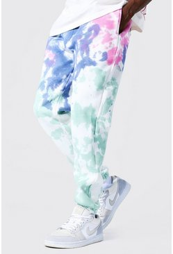 Multi Regular Man Graphic Print Tie Dye Joggers