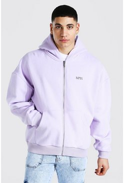 Lilac Boxy Original Man Zip Through Hoodie
