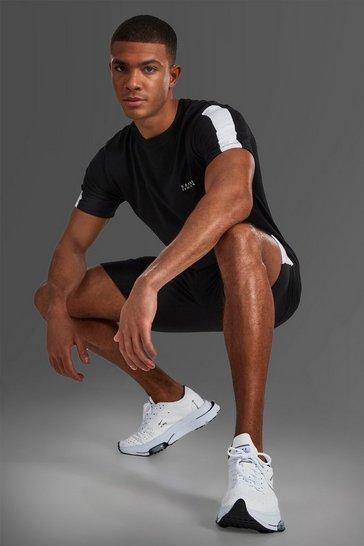 Black Man Short Sleeve T-shirt With Sleeve Panel
